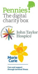 Pennies, John Taylor Hospice and Marie Curie Logos