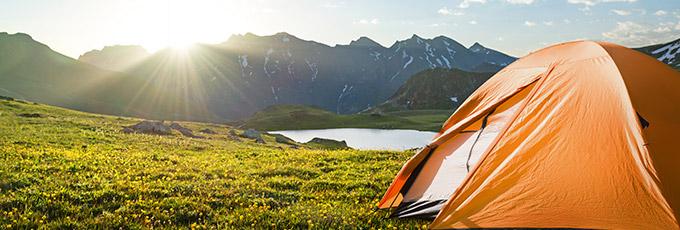 Orange Tent Next To Mountain Scenery