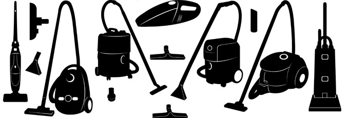 Black and White Vacuum Cleaner Graphic