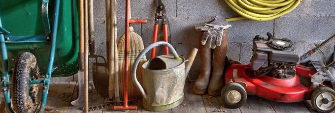 Lawnmower And Garden Tools In Shed