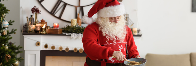 Santa Baking In Kitchen