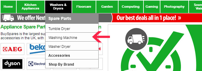 BuySpares Drop Down Menu