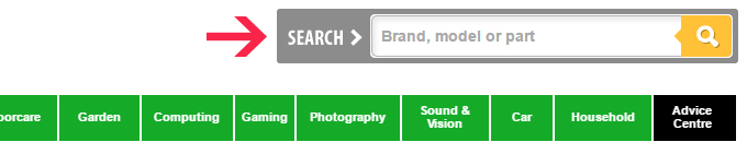 BuySpares Website Search Bar