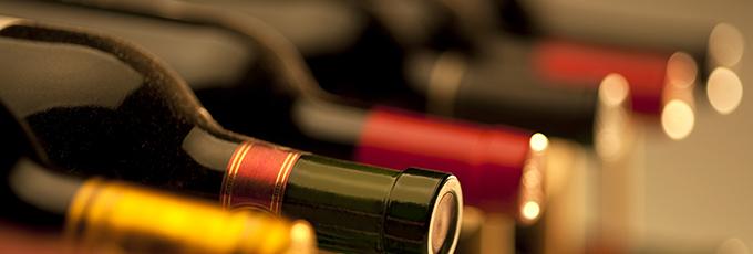 Red Wine Bottles On Rack