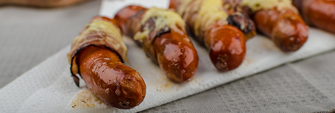 Hot Dog With Bacon And Cheese