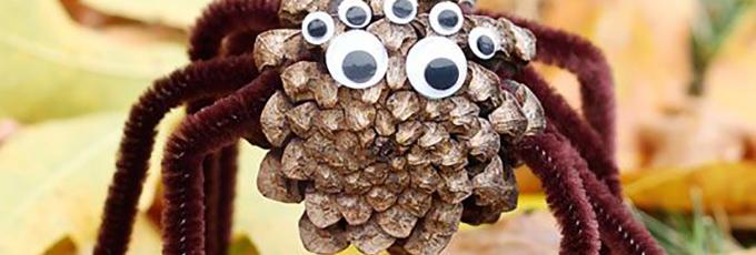 Halloween Pinecone DIY Spiders