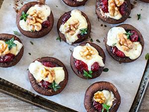 Festive Brie & Cranberry Stuffed Mushrooms