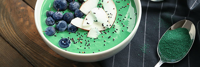 Bowl of spirulina with fruit