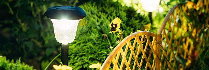 Solar lighting in garden