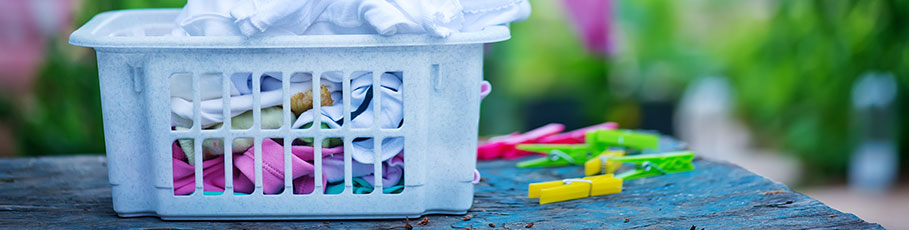 Laundry basket with washing on the line