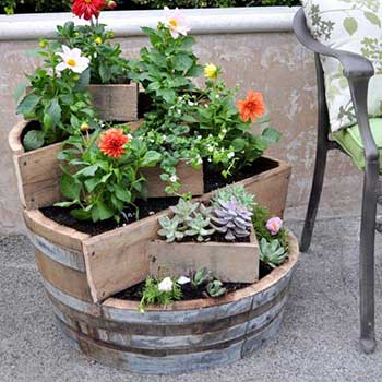 Tiered barrel planter