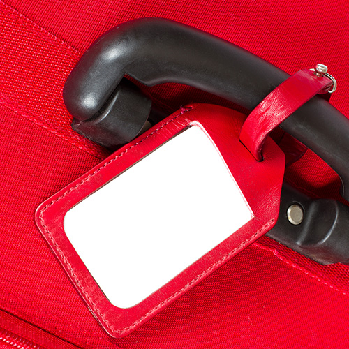 Suitcase with luggage tag
