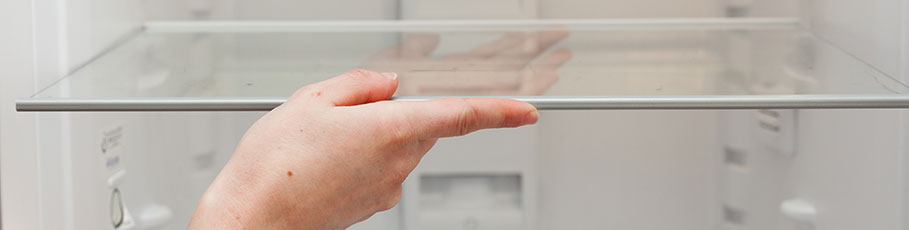 Putting a fridge shelf in the fridge