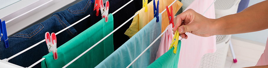 Clothes drying on clothes airer
