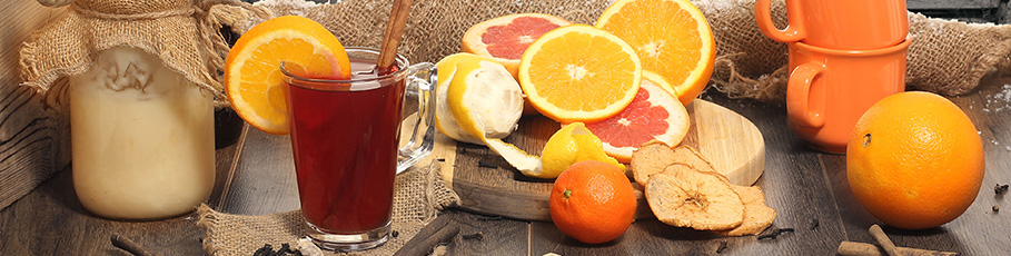 Tea and fruit in winter