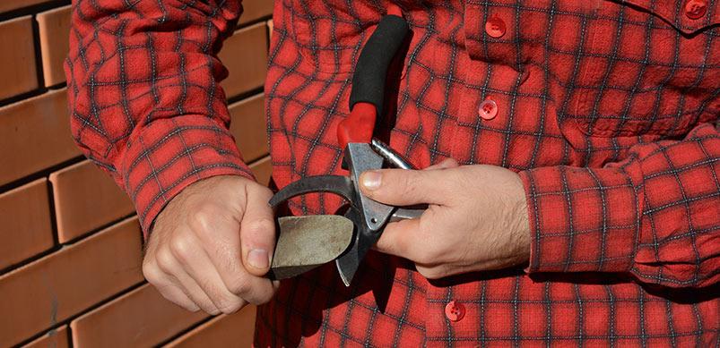 Man Sharpening Gardening Tools
